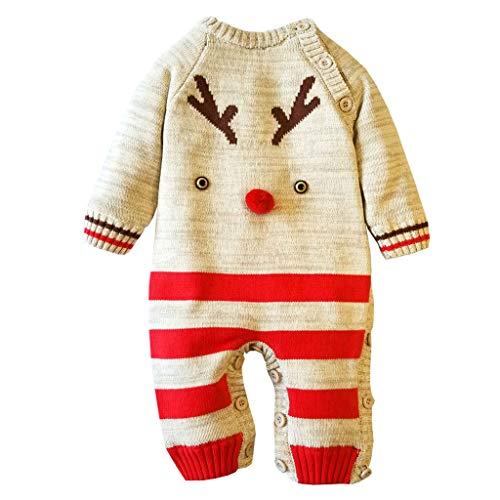 Fulltime (TM) Mono de bebé pijama lindo ciervo de Navidad de punto de manga larga mono de una pieza otoño invierno niños ropa de dormir, bebé niños pijamas para 0 – 24 meses recién nacido Rojo rosso 6-12 Meses