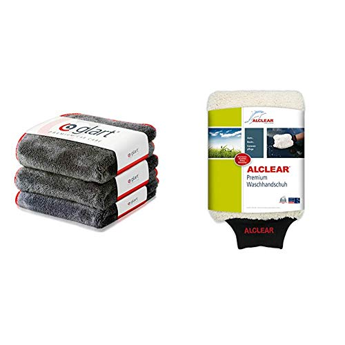 Glart 443TP Premium Flausch 3er Set Mikrofasertücher, ultraweich für perfekte Lackpflege, anthrazit, 40 x 40 cm, rote Kante & ALCLEAR Mikrofaser Handschuh zum Auto waschen mit Shampoo