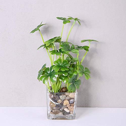 ZHONGLONGZHONG vierbladige klaver groene plant indoor simulatie plant decoratie bloem vlezige ornamenten woonkamer kantoor tafel groen kleine potten pot (met pot) Four-leaf Clover