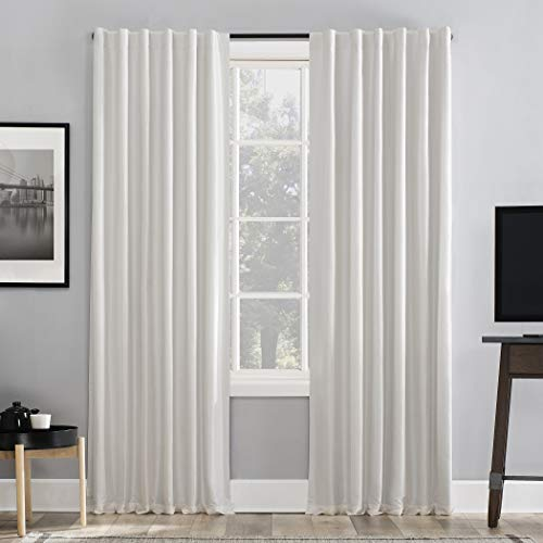 "Sun Zero Greyson Faux Dupioni Silk Extreme 100% Blackout Back Tab Curtain Panel, 50"" x 84"", Pearl White"