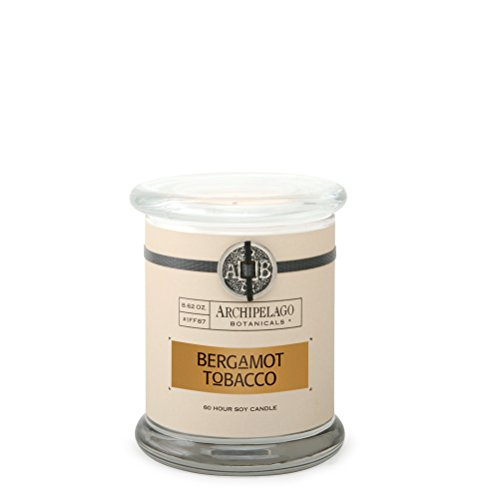 Archipelago Botanicals Bergamot Tobacco Glass Jar Candle. Crisp Scent of Italian Bergamot, and Tobacco Flower. Clean Soy Wax Blend Burns 60 Hours (8.6 oz)