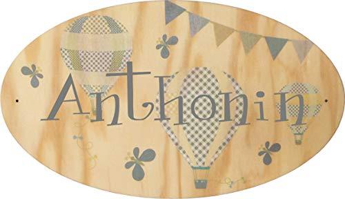 Plaque de Porte en bois personnalisée pour une Chambre d'enfant Modèle Montgolfières - Le prénom de la plaque en bois est personnalisable - cadeau de naissance personnalisé bébé Décoration