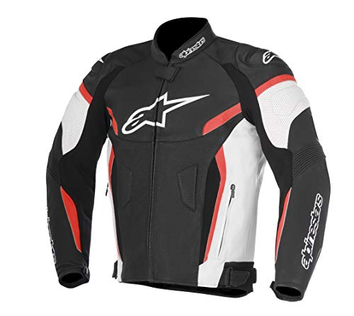 Alpinestars Men's Faster Airflow Leather Street Motorcycle Jacket, Black/Red, 58