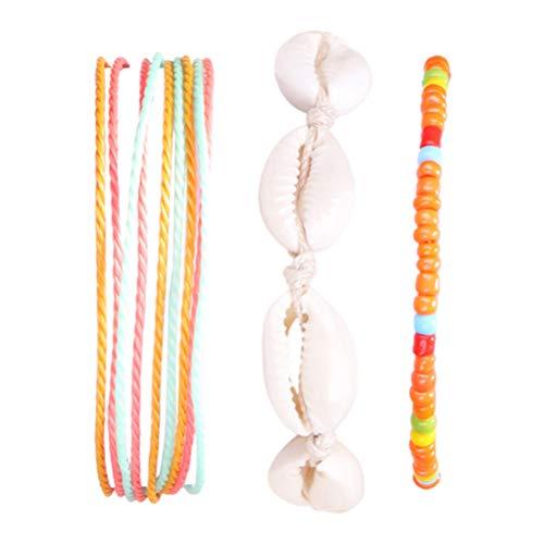 Holibanna 3 Piezas de Joyería de Pie de Cuerda de Tejido de Cadena de Pulsera de Tobillo de Concha Boho para Mujer Y Niña