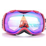 INOOY Occhiali da Sci Occhiali da Sci Anti-Fog e Anti-UV Anti-Skid Cintura Occhiali OTG Gioventù Ragazzo Ragazza Occhiali da Coca,Red