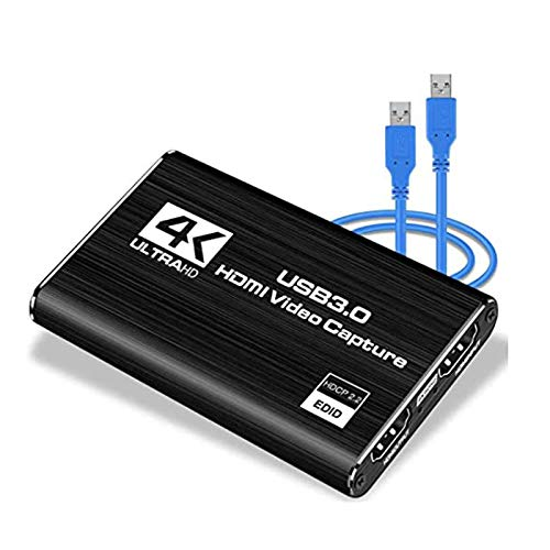 EUNEWR Game Capture Card 4K USB3.0, 60FPS Live Streaming Audio Video Recorder, HD 1080P HDMI Loop-Out Converter, Compatible Windows/Linux/OS for PS3 PS4 Xbox One Xbox 360 Nintendo Switch, Plug & Play