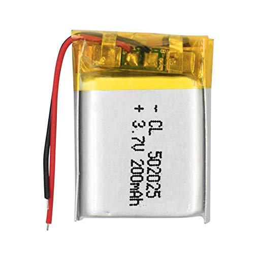 YUJNH 1/2/4 piezas 502025 batería recargable de polímero de litio de 3,7 V 200 mAh Bluetooth para auriculares grabadora de voz Lámparas Led Li-Po batería 2 piezas