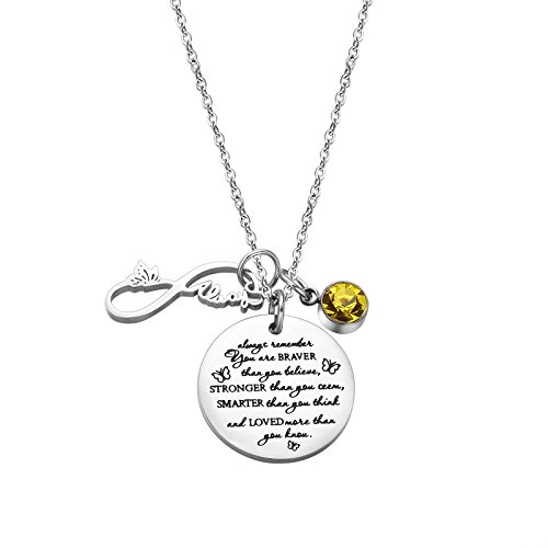 Fullrainbow You are Braver Than You Believed November Birthstone Necklace Infinity Necklace for Women (Nov)