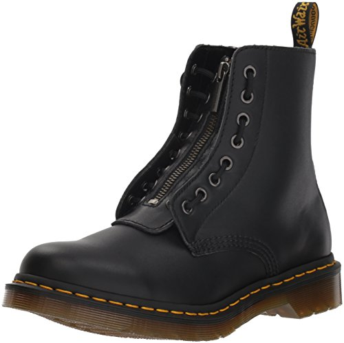 Dr. Martens Women's 1460 Pascal Front Zip Nappa Leather Boot Black-Black-5 Size 5