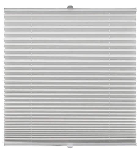 Plissee auf Maß für alle Fenster Montage Glasleiste Blickdicht mit Spannschuh Sonnenschutzrollo Weiß Breite: 61-70 cm, Höhe: 151-200 cm