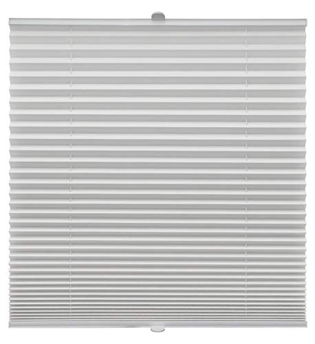 Plissee auf Maß für alle Fenster Montage Glasleiste Blickdicht mit Spannschuh Sonnenschutzrollo Weiß Breite: 51-60 cm, Höhe: 40-100 cm