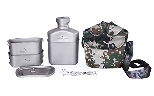 Boundless Voyage Titanium Military Canteen Cups Set Outdoor Camping Hiking Water Bottle Bowl Cooking Set Mess Kit (Ti15158B (Canteen+2cups set))