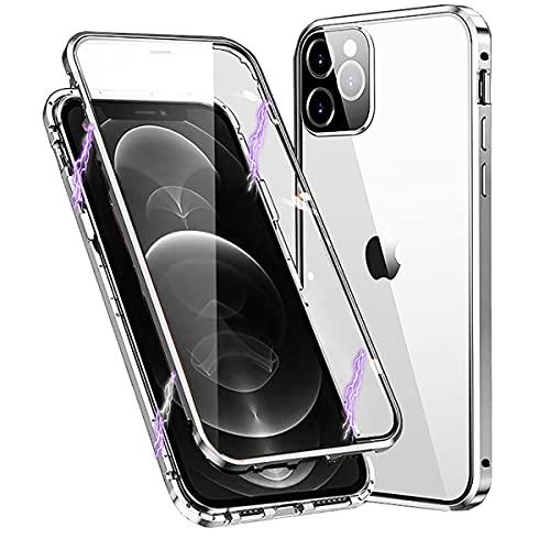 Funda para iPhone 12 Pro Max,360 Grados Carcasa con Protector de Pantalla y Protector de Lente de Cámara Integrados,Adsorción Magnética Marco Protector Metal Full Body Transparente Case Cover,Plata