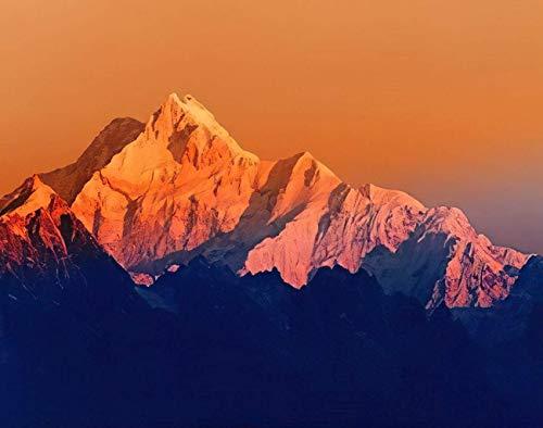 Landschafts-DIY-Puzzles, erstes Licht vom Sonnenaufgang auf dem Berg Kanchenjunga Himalaya-Berg Holzpuzzles für Erwachsene, beste Familien-Dekompressionsspiele für Kinder19,7 * 31,5 Zoll 1000 Stk