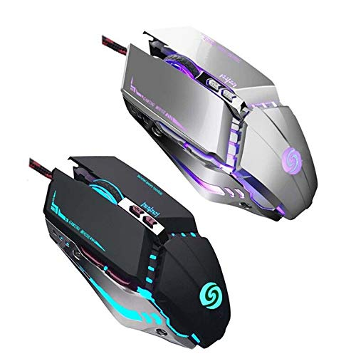 Shenligod【2 PCS】 Wired Gaming Mouse RGB Spectrum Backlit Ergonomic Mouse, USB Computer Mice, Modes up to 3200 DPI ,7 Buttons for Windows PC Gamers