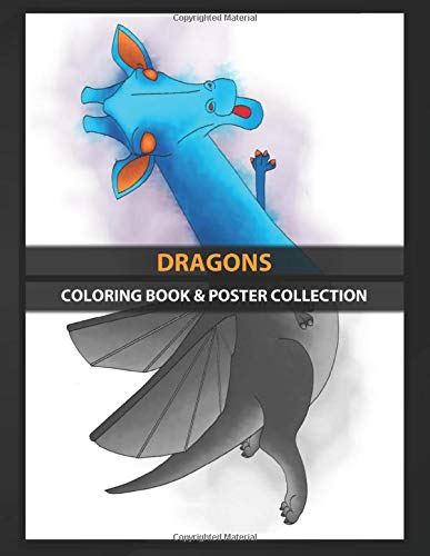 Coloring Book & Poster Collection: Dragons Digital Illustration Of A Flying Blue And Orange Dragon Cartoons