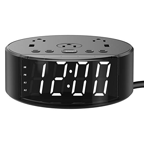 Alarm Clock – Alarm Clock With USB Charging Ports and Power Outlets Charging Station, Digital Alarm Clock with USB Charger for Bedroom, Hotel, Travel, College Dorm Room, Office, Heavy Sleepers Black