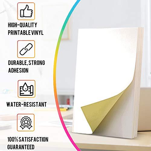 Magicdo Etiquetas autoadhesivas para impresoras de inyección de tinta o láser, 65 hojas brillantes a4 papel impresoras adhesivo, 21,6 x 27,9 cm