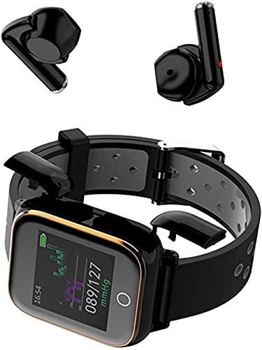 El reloj inteligente contiene carga magnética dual auriculares Bluetooth Mp3 3 en 1 llamada Bluetooth monitor de presión arterial