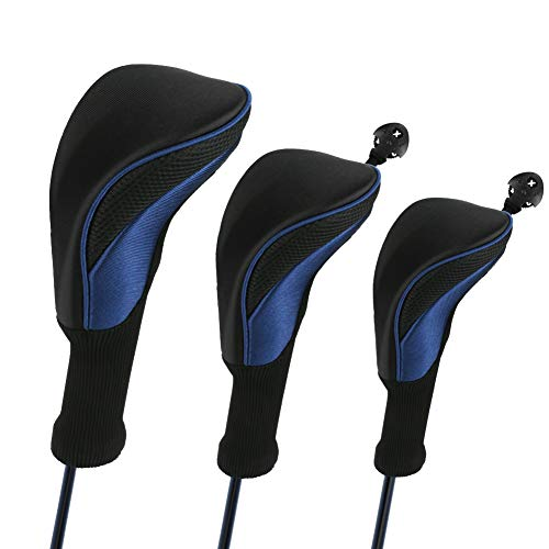 Number-one Golf Club Head Covers for Fairway Woods Driver Hybrids, 3Pcs Long Neck Mesh Golf Club Headcovers Set with Interchangeable No. Tags 3 4 5 6 7 X (Blue)