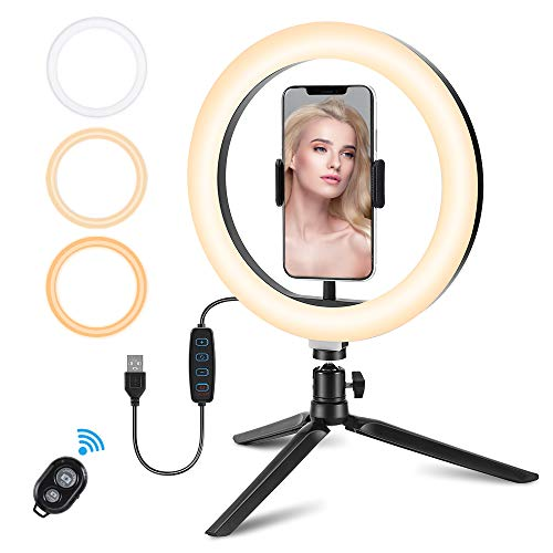 """10"""" Ring Light, REKY Selfie Ring Light with Tripod Stand & Phone Holder, 3 Color Lights/10 Levels Brightness Dimmable Led Desk Ring Light for Live Steam/Video/Makeup/Vlog/TikTok for iPhone & Android"""