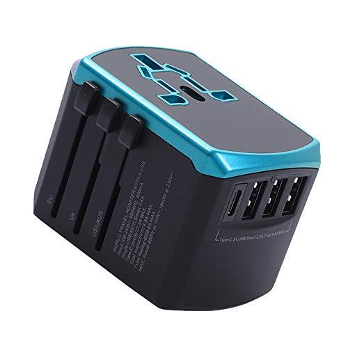 Adaptador Universal De Viaje por Todo El Mundo, De Carga Rápida, con Doble Fusible, 3 Puertos USB con Cargador 5A Alta Velocidad Y 1 3.0A Tipo C,Azul