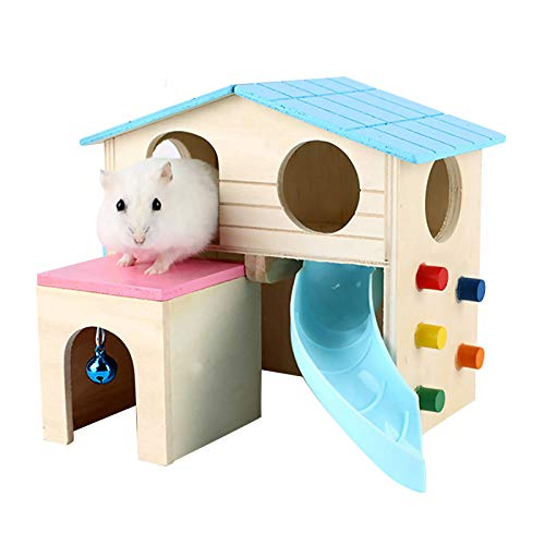 QAVILFLY Casa de hámster, escondite de animales pequeños, cabaña de madera de lujo de dos capas con escalera de escalada, juguetes para animales pequeños como hámster enano y ratón, 1 pieza (azul)