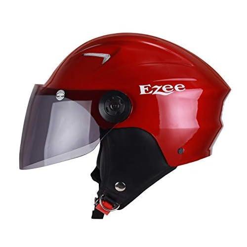 Sunny New Ezee Half face Helmet for Men Women Girls and Boys scooty and Bike Helmet (Red, Medium)