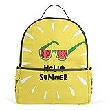 Hello Summer Mochila amarilla para mujeres, adolescentes, niñas, bolso de moda, para viajes, colegio, informal, para niños