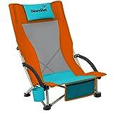 Skandika Strand Klappstuhl Beach   Bequemer Strandstuhl mit atmungsaktivem Mesh, Getränkehalter, niedrig, leicht zu transportieren, max. 136 kg   Faltbarer Campingstuhl, Liegestuhl (orange/blau)