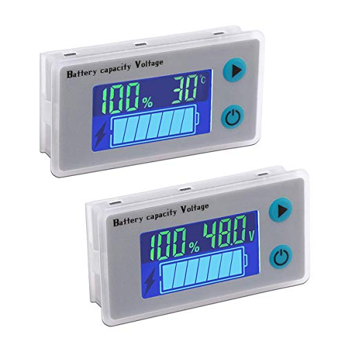 ZHITING 2pcs Monitor de Capacidad de Batería 12V-72V Voltímetro Indicador de Temperatura con Pantalla LCD a Color