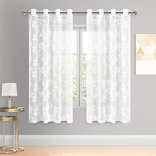 DWCN Floral Lace Sheer Curtains - Grommet Window Voile Sheer Drapes for Bedroom Kitchen Short Curtains 52 x 63 inch Length, Set of 2 White Curtain Panels