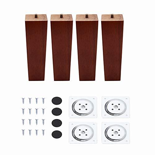 4 Stück Holz Möbelfüße 16cm Tischbeine Quadratisch Möbelbeine aus Eiche mit Montageplatten und Schrauben für Sofa Schrank Kabinett Couch Stühle Bett Braun
