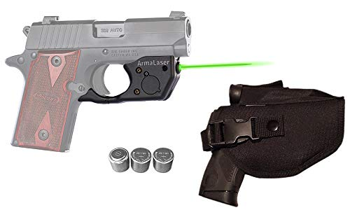 Laser Kit for SIG Sauer P238 & P938 w/Tactical Holster, Touch-Activated ArmaLaser TR8-G Green Laser Sight & 2 Extra Batteries