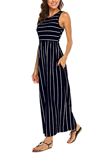 Hount Women's Summer Sleeveless Striped Flowy Casual Long Maxi Dress with Pockets (Navy Blue, X-Large)