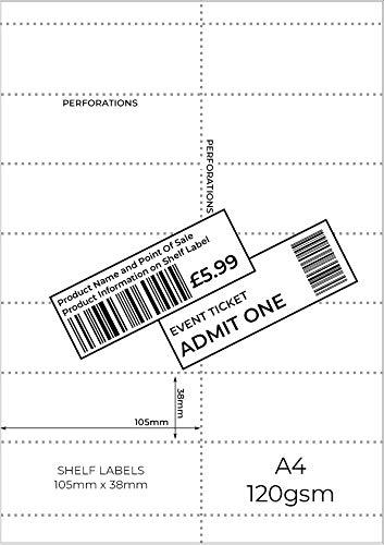 Etiquetas para estanterías de OfficeGear [paquete de 168]. Tarjeta A4 de 38x105mm personalizada. 14 etiquetas perforadas/códigos de barras, precios, información, promociones. Plantilla incluida