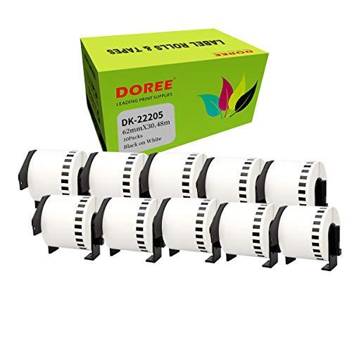 10 × DOREE DK-22205 DK22205 Etikettenrollen (durchgehend) für Brother P-Touch QL-500 QL-500A QL-500BS QL-500BW (10 Packungen)