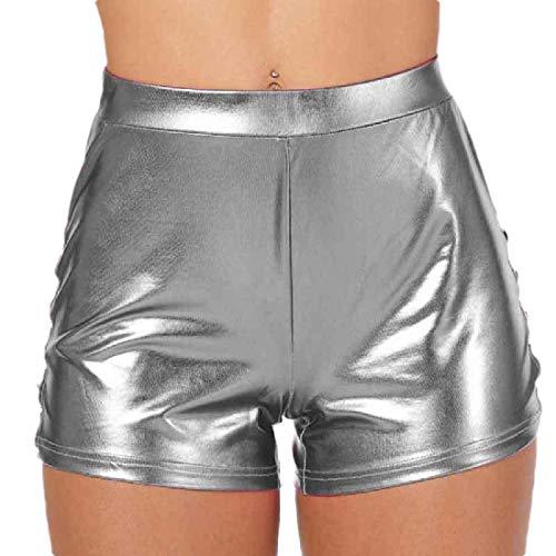 GenericC Womens Solid Color Yoga Hot Shorts Shiny Metallic Pants with Elastic Drawstring Grey S
