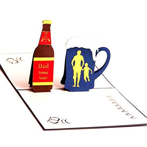 Grußkarten, Einladungsumschläge 3D Pop Up Grußkarte Handgemachte Vatertag Geburtstagskarte mit Umschlag für Ehemann Freund Vater Bräutigam Herzlichen Glückwunsch (Vater liebt Bier) SPDYCESS