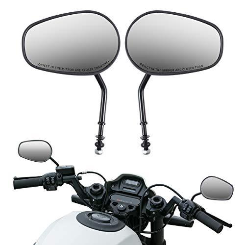 KATUR Motocicleta 8MM 10MM Espejos retrovisores del Manillar Espejo retrovisor Moto Corte Negro Borde Espejos retrovisores Laterales para Road King Sportster Street Glide Electra Glide