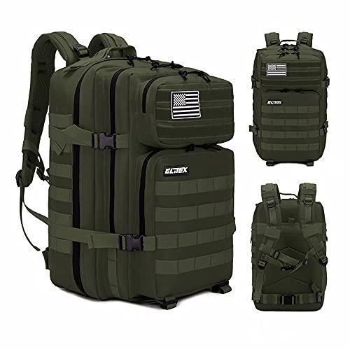 Elitex Mochila 25L Tactica Militar Color Verde Bandera USA Impermeable para...