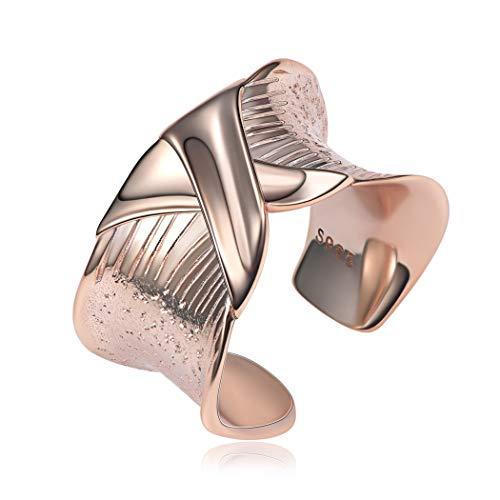 ChicSilver Plata Esterlina 925 Anillo con Diseño Nudo X Ancho Abierto Ajustable Joya de Regalo Romántico para Ella Hip Hop Oro Rosa Banda Ancha