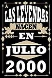Las Leyendas Nacen En julio 2000: Regalo de cumpleaños de 21 años para mujeres hombre esposa esposo mama papa, regalo de cumpleaños para niñas Chica ... de cumpleaños 80 años, 15.24x22.86 cm