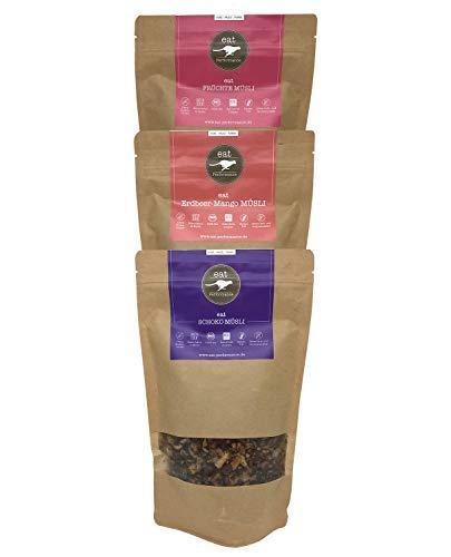 eat Performance® Variety Müsli Box (3x 325g) - Bio, Paleo, Vegan, Glutenfrei, Ohne Zuckerzusatz, Granola Aus 100% Natürlichen Zutaten