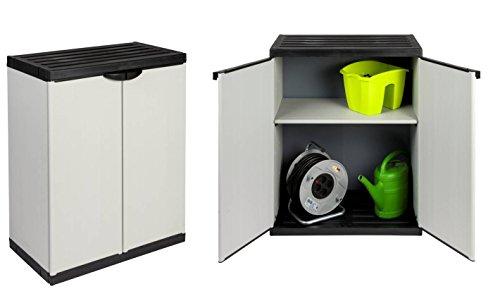 2 Stück Kunststoffschrank, Gartenschrank in Lichtgrau mit jeweils einem höhenverstellbaren...