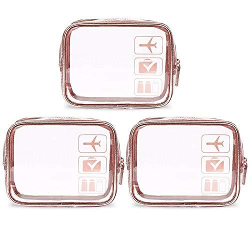 3PCS Mode Plastique PVC Sacs cosmétiques Clair Maquillage Portable étanche Sac for Toiletry Plein air Voyage (Color : Black)