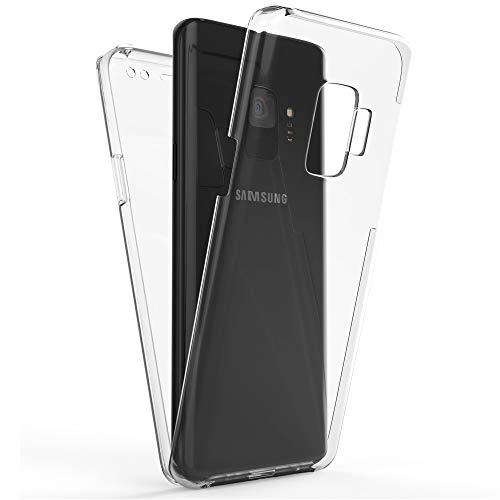 NALIA 360 Grad Handyhülle kompatibel mit Samsung Galaxy S9, Full-Cover Silikon Bumper mit Bildschirmschutz vorne Hardcase hinten, Hülle Doppel-Schutz Dünn Ganzkörper Hülle Handy-Tasche, Farbe:Transparent