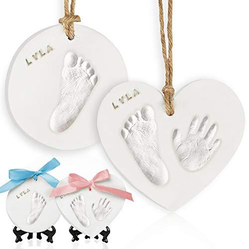 Baby Handabdruck Souvenir-Kit - Neugeborene Fußabdruck Ornament Kit Für Mädchen, Jungen - Personalisierte Eltern Geschenke - Handabdruck Weihnachts Ornament Kit (Multi-Colored)