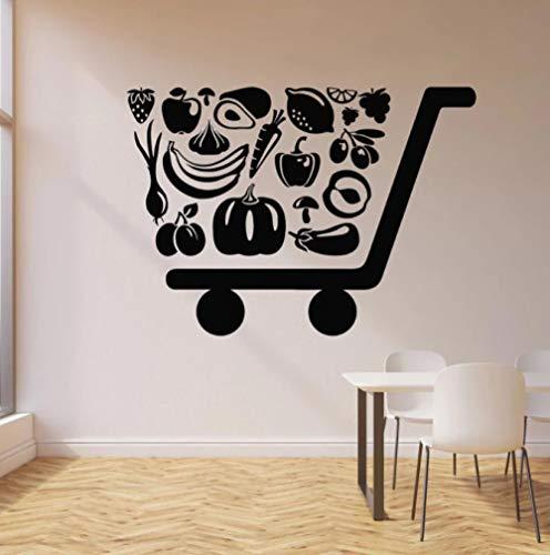 Calcomanía de pared Ecología orgánica Comida Frutas saludables Tienda Supermercado Decoración interior Vinilo Pegatinas de ventana Arte creativo Mural 42x30 cm