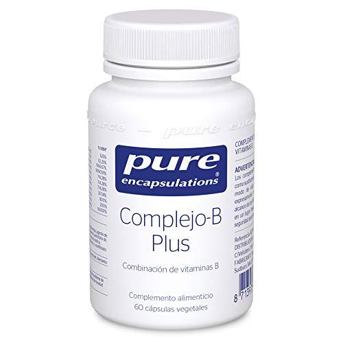 Pure Encapsulations - Complejo-B Plus - Complejo de B Vitaminas de Alta Concentración - 8 Vitaminas B en su Forma Activa (B1, B2, B3, B5, B6, B7, B9, B12) - 60 Cápsulas Veganas